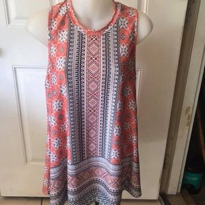 Med A. Byer coral/black geometric sleeveless top